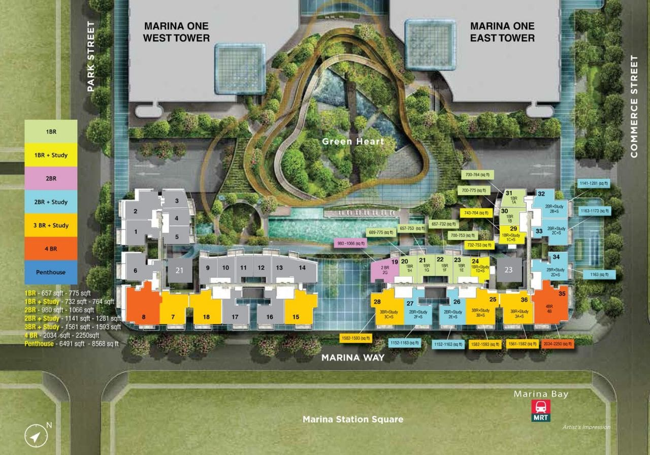 Marina One Residences Siteplan